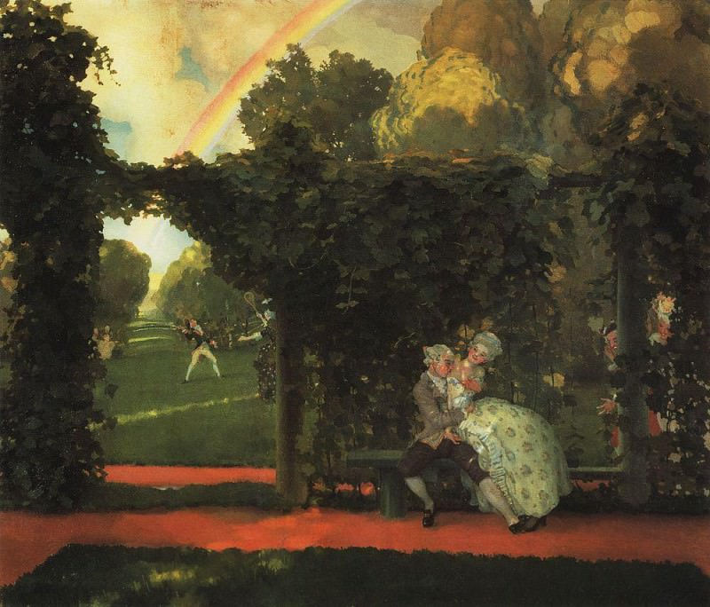 Windows - Doors - landscape (open the door to the garden). 1934. Konstantin Andreevich (1869-1939) Somov