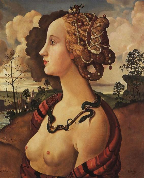 Copy of «Portrait of Simonetta Vespucci» by Piero di Cosimo c.1462-1521. Konstantin Andreevich (1869-1939) Somov