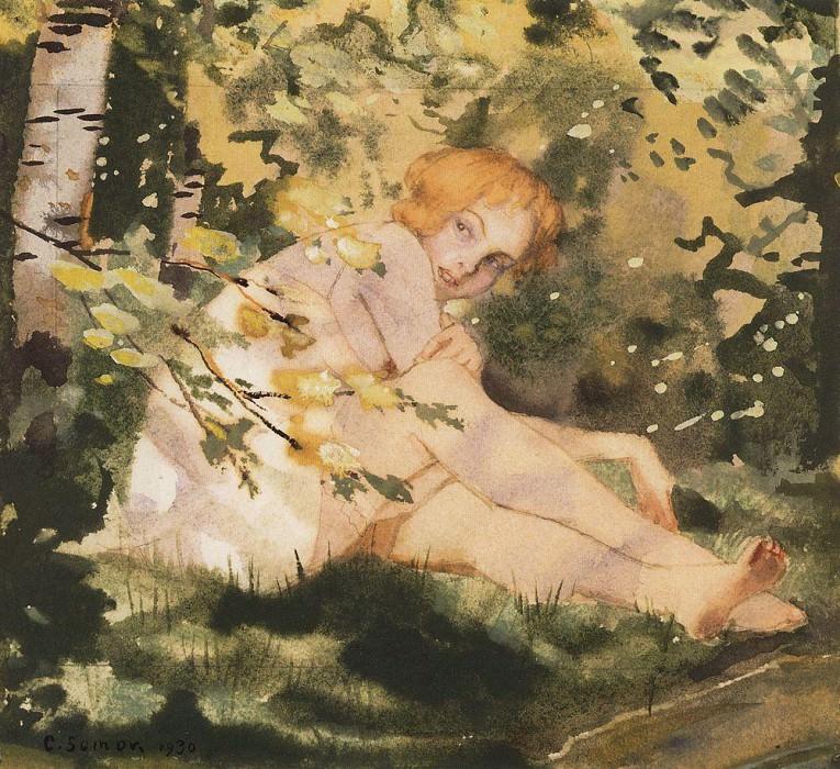 Girl in the sun. 1930. Konstantin Andreevich (1869-1939) Somov