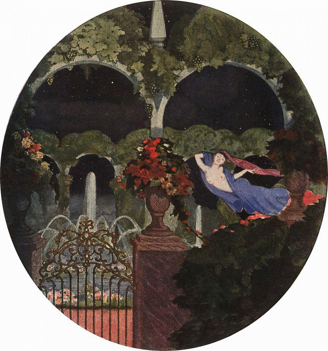 Magic Garden (night vision). 1914. Konstantin Andreevich (1869-1939) Somov