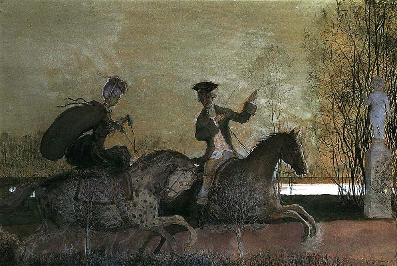 Вечерняя прогулка верхом. 1897. Сомов Константин Андреевич (1869-1939)