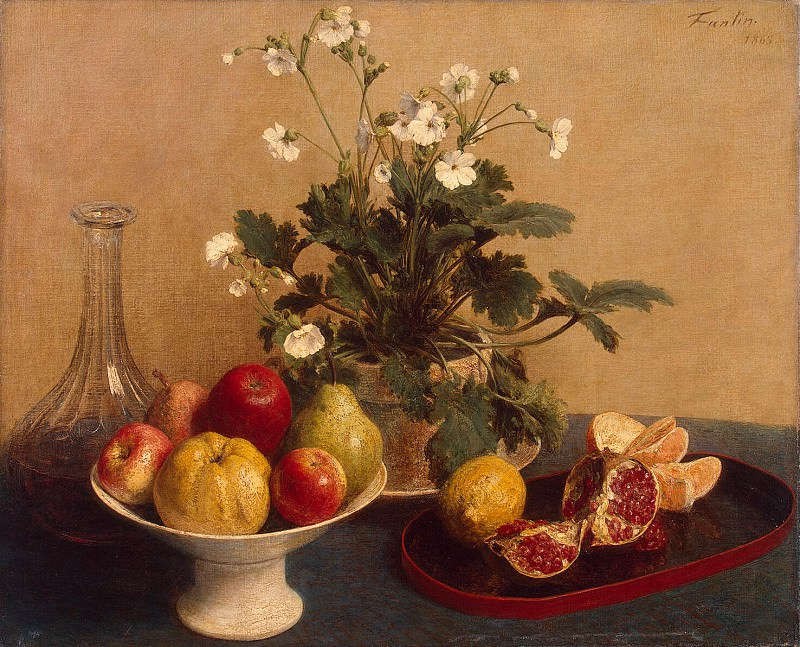 Fantin-Latour, Henri. Flowers, vase with fruit and a decanter. Hermitage ~ part 12
