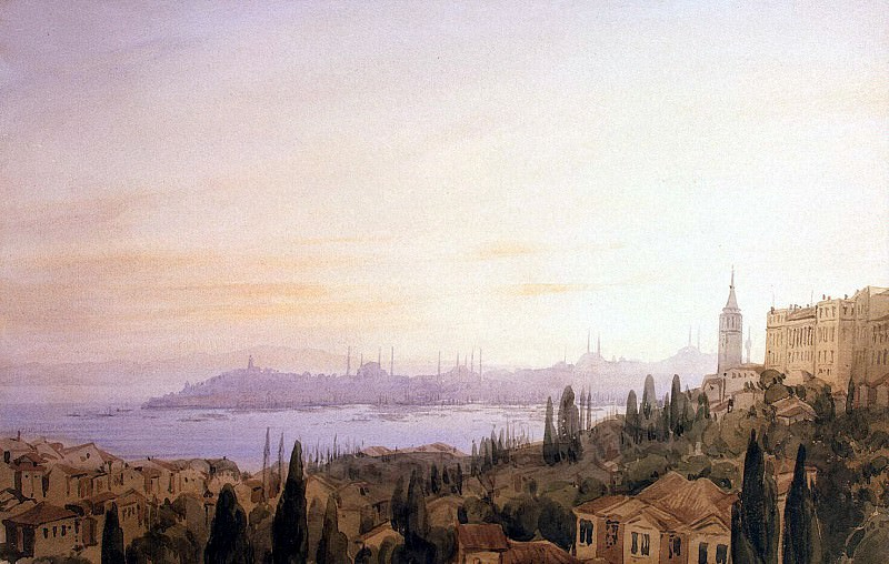 Frisero, Joseph. View of Constantinople from the valley-Büyük Dere against the Golden Horn. Hermitage ~ part 12