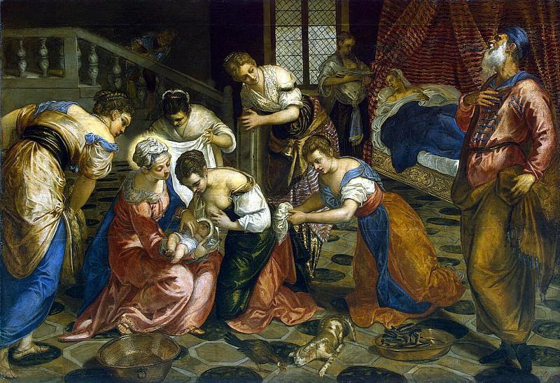 Tintoretto, Jacopo Robusta. Birth of John the Baptist. Hermitage ~ part 12