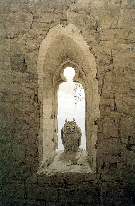 Friedrich, Caspar David. Owl in the embrasure of a Gothic window. Hermitage ~ part 12