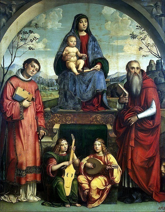 Francia, Francesco. Madonna with Child, St. Lavrentiev, St. Ieroninom and two angels play music. Hermitage ~ part 12