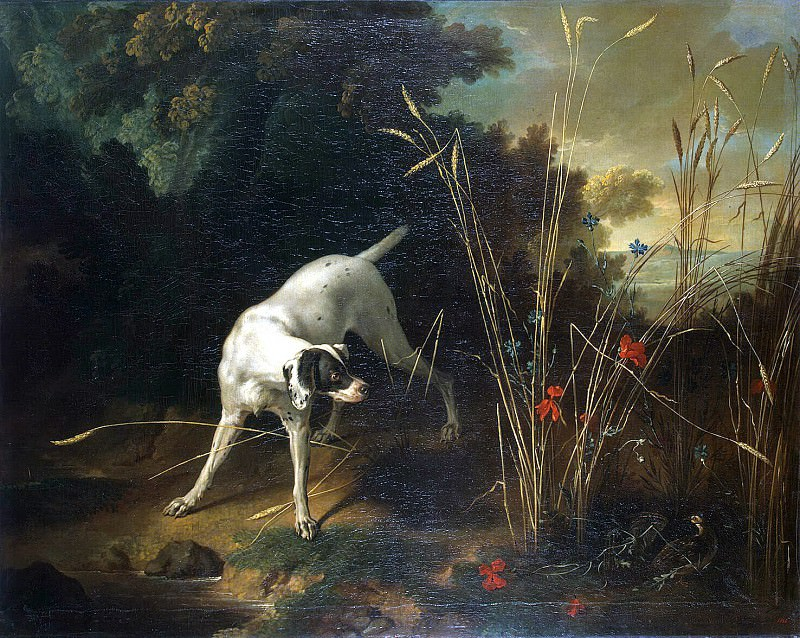 Oudry, Jean-Baptiste. A dog on the counter in front of partridge. Hermitage ~ part 12