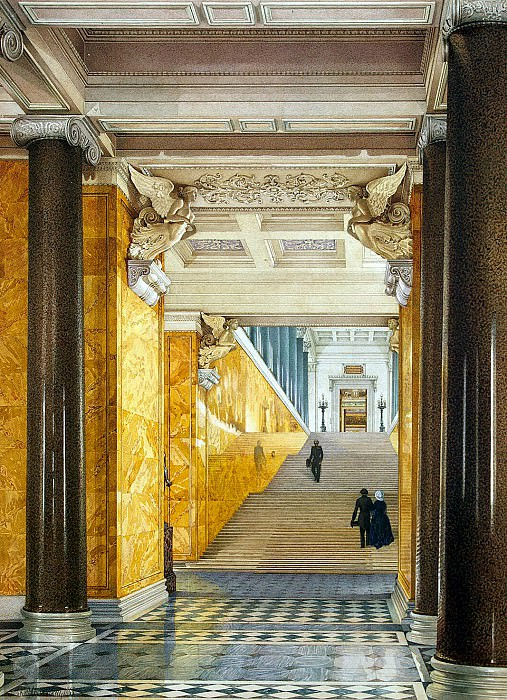 Ukhtomsky, Konstantin Andreevich. Types of rooms of the New Hermitage. The main staircase and the lobby. Hermitage ~ part 12
