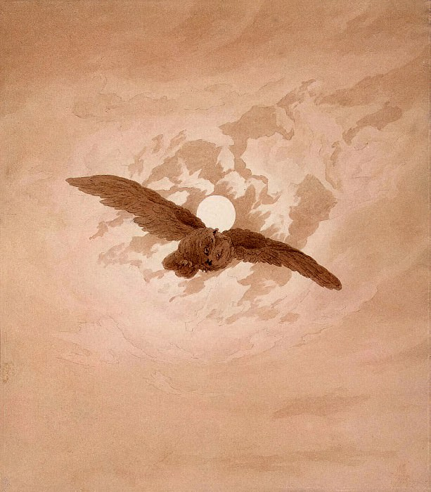 Friedrich, Caspar David. Flying Owl on the background of moonlit sky. part 12 Hermitage