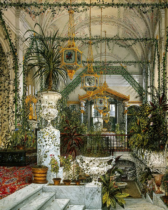 Ukhtomsky, Konstantin Andreevich. Types of rooms in the Winter Palace. Winter Garden of Empress Alexandra Feodorovna. Hermitage ~ part 12