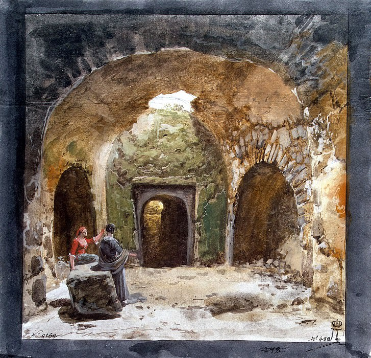 Uele, Jean-Pierre-Laurent. Type the tomb in an underground grotto near the church of San Nicolas on the island of Lipari. Hermitage ~ part 12
