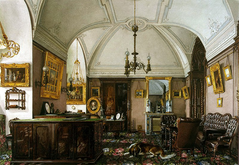 Ukhtomsky, Konstantin Andreevich. Types of rooms in the Winter Palace. Cabinet of the Grand Duke Nikolai Nikolaevich. Hermitage ~ part 12