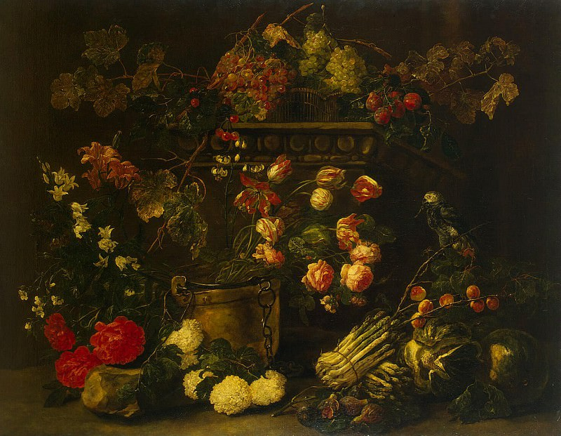 Faith, Ian. Still life with flowers, fruit and a parrot. Hermitage ~ part 12