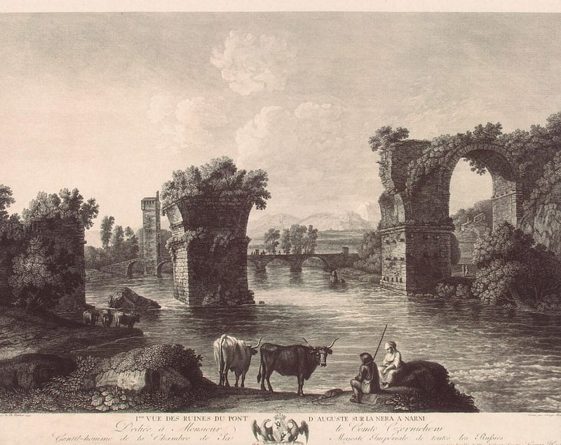 Hakkert, George Abraham. The first kind of ruins of the bridge in August in Narni. Hermitage ~ part 12
