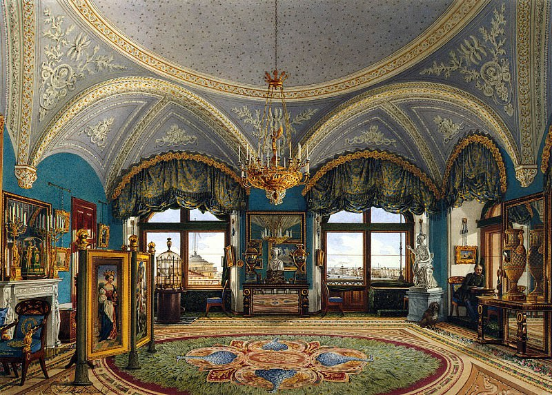 Ukhtomsky, Konstantin Andreevich. Types of rooms in the Winter Palace. Corner living room of Emperor Nicholas I. Hermitage ~ part 12