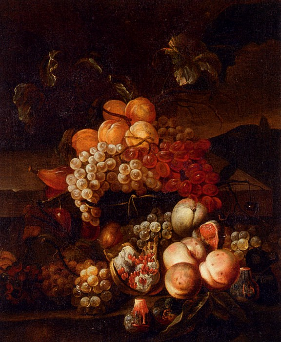 Bogdany Jakob Still Life Of Grapes Peaches And Figs With A Landscape Beyond. Венгерские художники