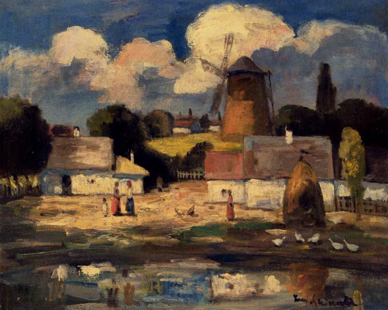 Ivanyi Grunwald Bela Village Scene. Hungarian artists