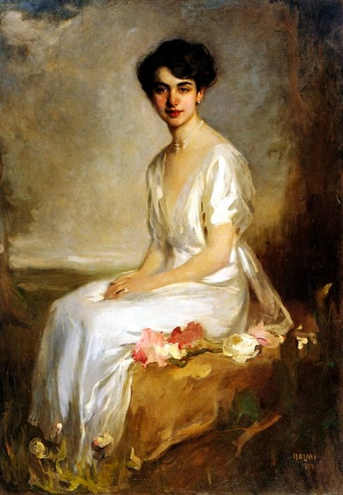 Halmi Arthur Lajos Portrait Of An Elegant Young Woman In A White Dress. Hungarian artists