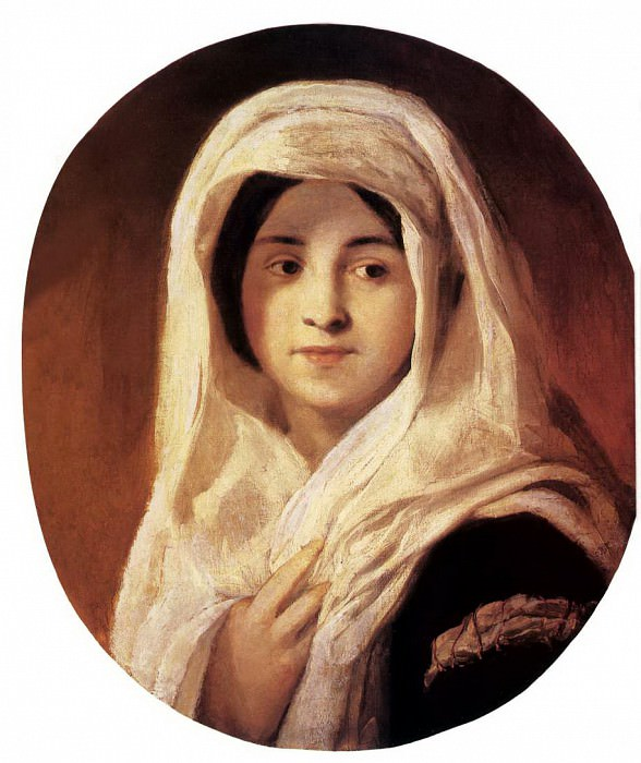 BROCKY Karoly Portrait Of A Woman With Veil. Hungarian artists
