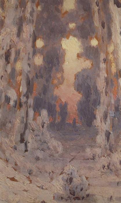 Sunspots on frost. Sunset in the forest.. Arhip Kuindzhi (Kuindschi)