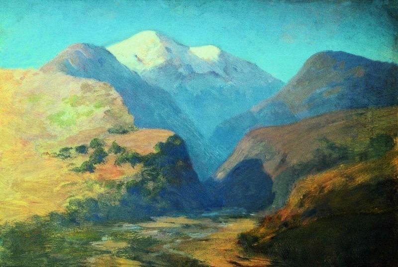 snowy mountain peaks. Caucasus.. Arhip Kuindzhi (Kuindschi)
