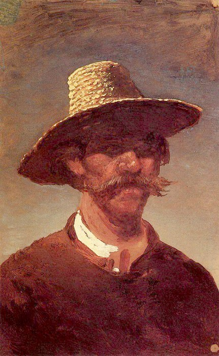 head of the peasant - a Ukrainian and a straw hat.. Arhip Kuindzhi (Kuindschi)