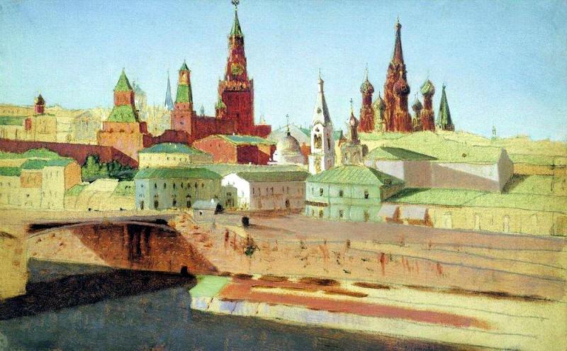 view Moskvoretsky Bridge, the Kremlin and St. Basils Cathedral.. Arhip Kuindzhi (Kuindschi)