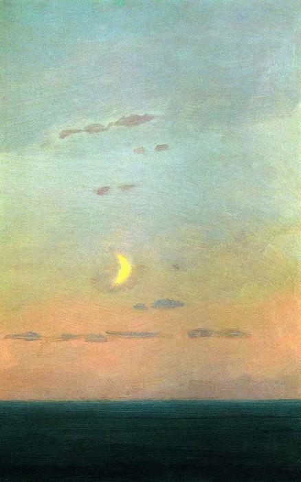 Лунный серп на фоне заката.. Архип Иванович Куинджи