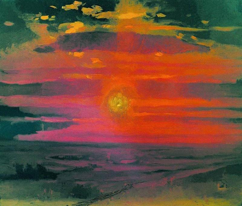 Sunset in winter. Seashore.. Arhip Kuindzhi (Kuindschi)
