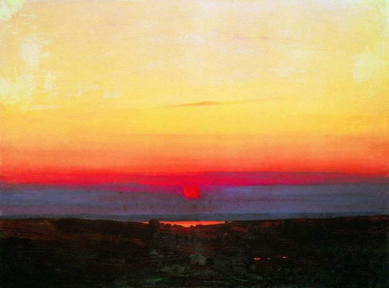 Sunset in the steppes to the sea.. Arhip Kuindzhi (Kuindschi)