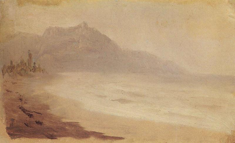 Sea coast. View of Mount Demerdzhi. Crimea.. Arhip Kuindzhi (Kuindschi)