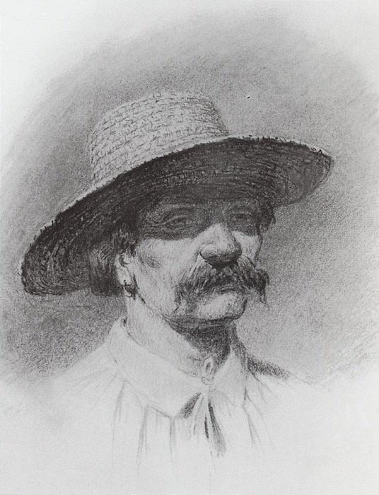 Mens head in a straw hat. Arhip Kuindzhi (Kuindschi)