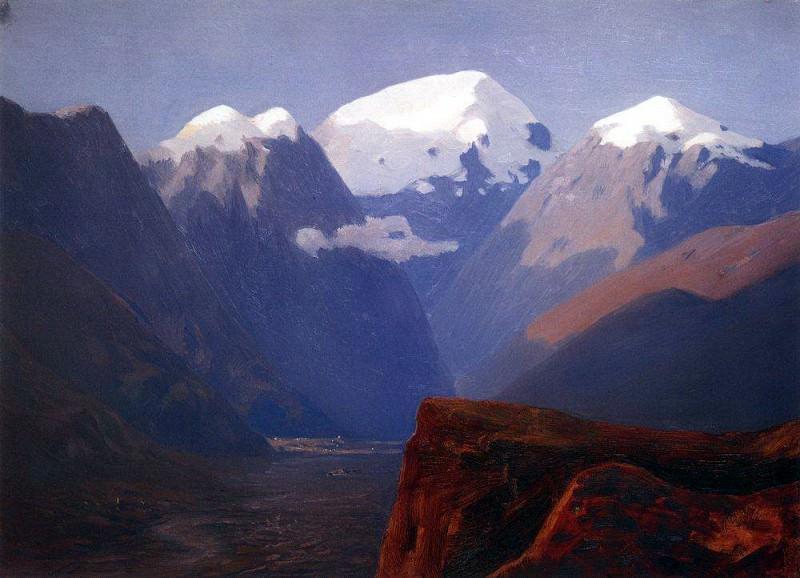snowy peaks. Caucasus.. Arhip Kuindzhi (Kuindschi)