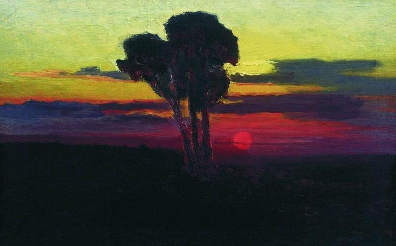 Закат с деревьями.. Архип Иванович Куинджи