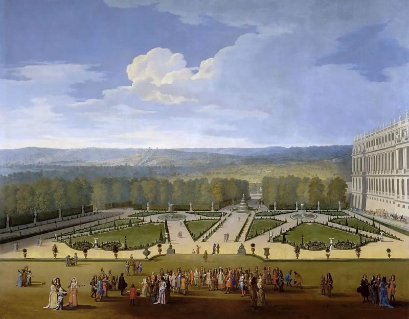 Etienne Allegrain -- Promenade of Louis XIV, Gardens of Versailles around 1689; Bassin des Couronnes (Vue des Jardins de Versailles prise du côte du parterre nord). Château de Versailles