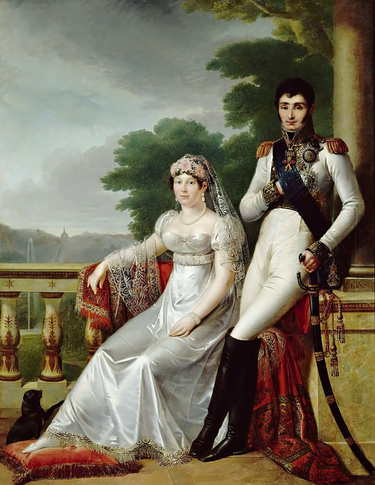 Francois Josephe Kinsoen -- Portrait of Jérôme Bonaparte, King of Westphalia, and Catherine Frédérique de Wurtemberg, Queen of Westphalia. Château de Versailles