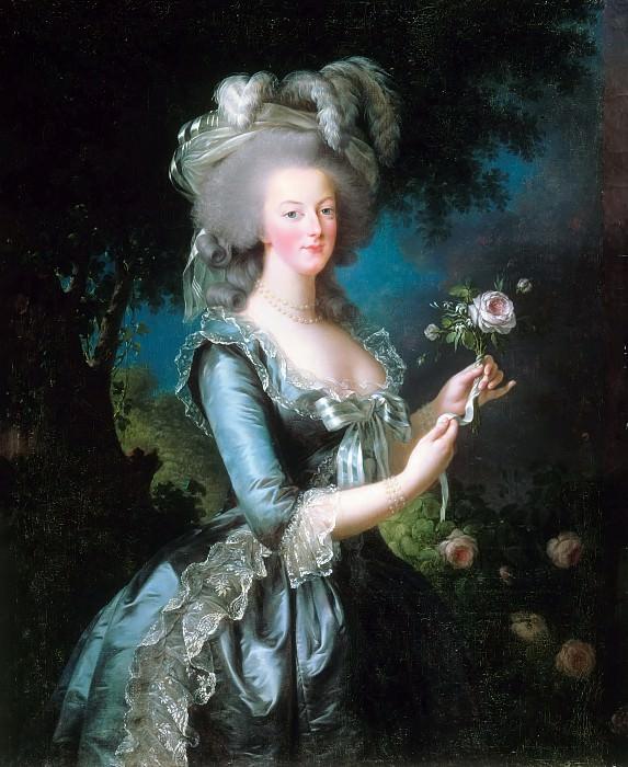 Elisabeth Louise Vigée-LeBrun -- Portrait of Marie-Antoinette (à la rose). Château de Versailles