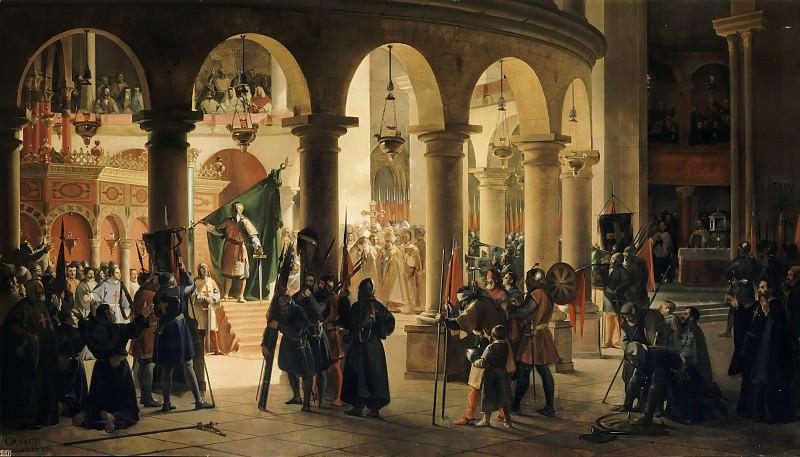 Granet, François-Marius -- Godefroy de Bouillon dépose dans l'église du Saint-Sépulcre les trophées d'Ascalon, août 1099. Château de Versailles