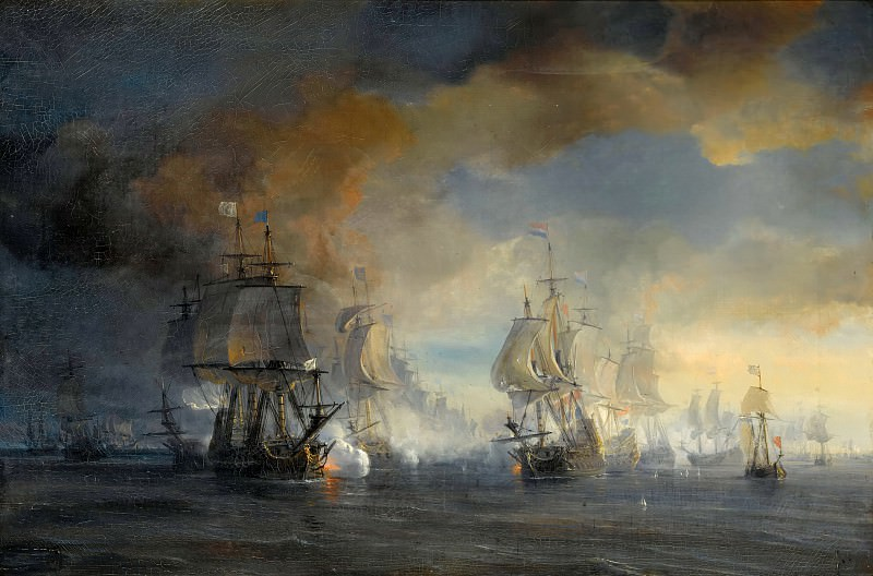Théodore Gudin -- Battle of Solebay on 7 June 1672 (Third Anglo-Dutch War 1672-74; French commanded by Vice-Admiral Comte Jean d'Estrées together with the British commanded by Duke of York against the Dutch Fleet commanded by Ruyter). Château de Versailles