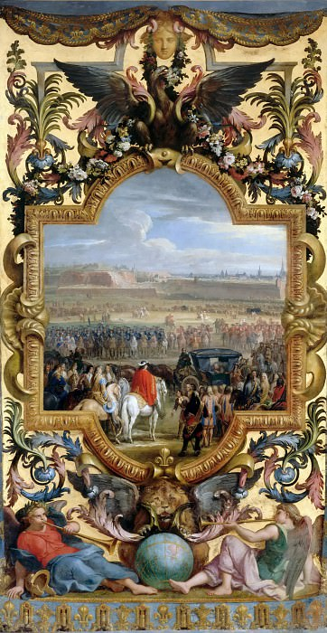 Adam Frans van der Meulen and Charles Le Brun -- Surrender of the citadel at Cambrai, 18 April 1677. Château de Versailles