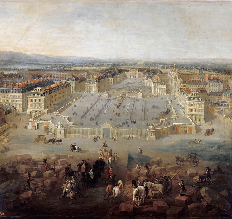 Pierre-Denis Martin -- View of the chateau at Versailles from the Place d'Armes in 1722. Château de Versailles