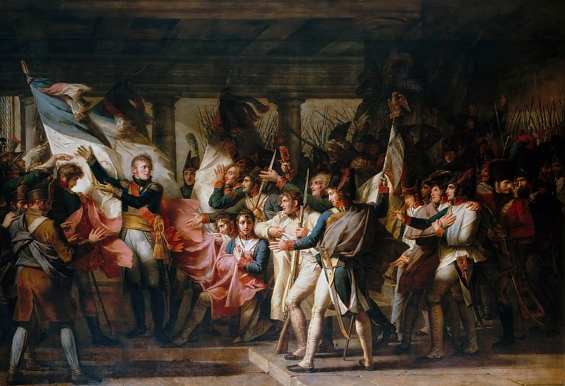 Charles Meynier -- Marshall Ney and the soldiers of the 76th regiment of the line retrieve their colors from the arsenal at Innsbruck, 7 November 1805. Château de Versailles