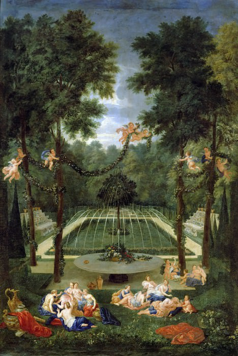 Jean Cotelle the younger -- View of the Bosquet du Marais (Green Oak) at the gardens of Versailles. Château de Versailles