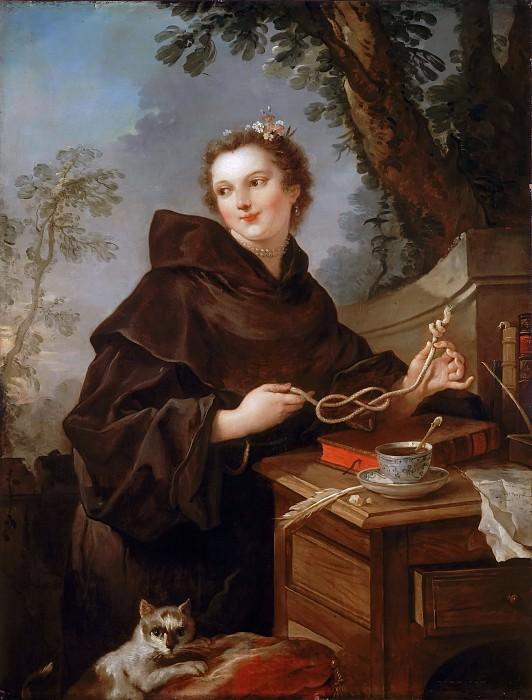 Charles-Joseph Natoire -- Louise-Anne de Bourbon, Mlle de Charolais (1695-1758), in a monk's robe, holding the chord of St. Francis. Château de Versailles