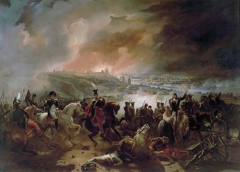 Charles Langlois -- Battle of Smolensk, Night of August 17, 1812; Crimean War; Napoleon gives his orders in front of the town in flames. Château de Versailles