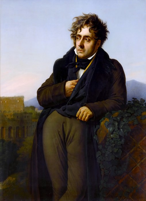 Anne-Louis Girodet de Roucy-Trioson -- Portrait of Chateaubriand (A Man Meditating on the Ruins of Rome). Château de Versailles