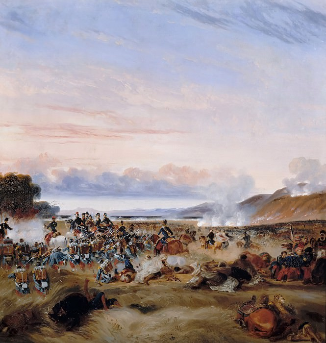 Theodore Leblanc -- Battle of Habrah in the Province of Oran, Algeria; Marshall Clausel and Duc d'Orléans prevailed over light infantry of Abd-el-Kader, 3 December 1835; Episode of the conquest of Algeria. Château de Versailles