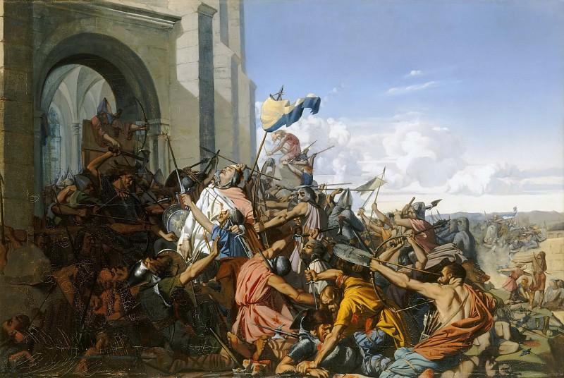 Henri Lehmann -- Death of Robert le Fort in the Battle of Brisserte, 25 July 866. Château de Versailles