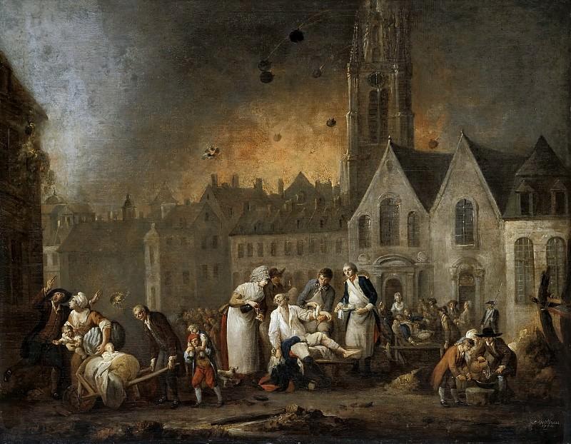 Франсуа-Луи-Жозеф Ватто -- Площадь в Лилле во время осады в октябре 1792 года. Версальский дворец