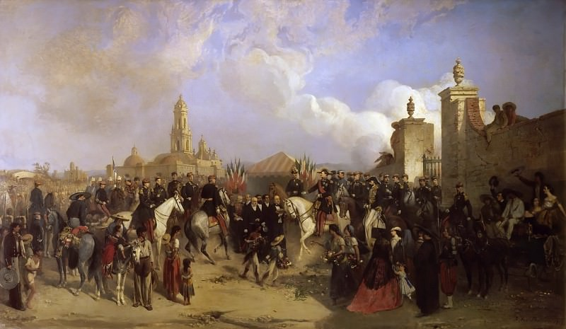 Jean-Adolphe Beaucé -- Arrival of the French Military Expedition in Mexico City on June 10, 1863. General Forey receives the keys of the city from the prefect Azcaraste (Entrée du corps expéditionnaire). Château de Versailles